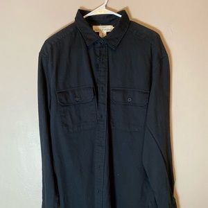 Black Button Up Polo Long Sleeve